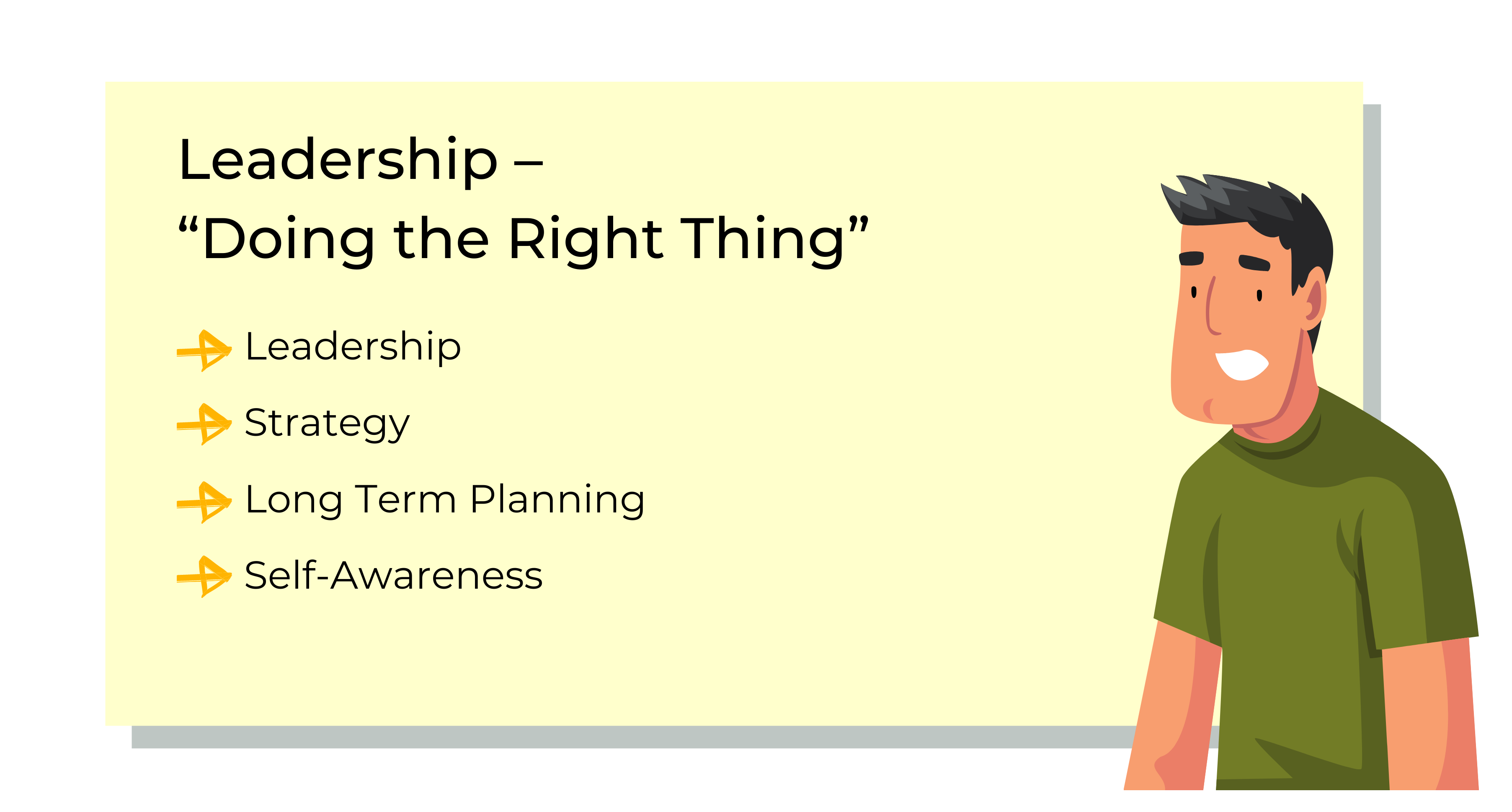 Leadership informational poster - doing the right thing involves leadership, strategy, long term planning and self-awareness